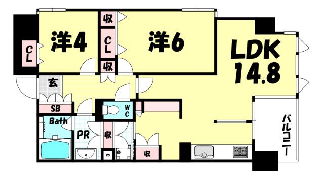 物件番号: 1025884048 コスモシティ三宮東  神戸市中央区筒井町3丁目 2LDK マンション 間取り図