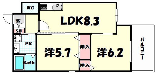 物件番号: 1025884053 ドルチェ・ヴィータ新神戸  神戸市中央区熊内町1丁目 2DK マンション 間取り図