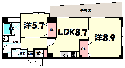 物件番号: 1025884054 ドルチェ・ヴィータ新神戸  神戸市中央区熊内町1丁目 2DK マンション 間取り図