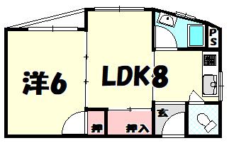 物件番号: 1025884057 パレスマンション  神戸市中央区中山手通2丁目 2DK マンション 間取り図