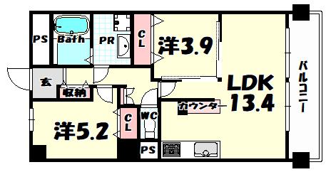物件番号: 1025884060 ワコーレアルテ中山手  神戸市中央区中山手通3丁目 2LDK マンション 間取り図