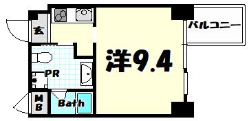物件番号: 1025884063 East Village SANNOMIYA  神戸市中央区琴ノ緒町4丁目 1R マンション 間取り図
