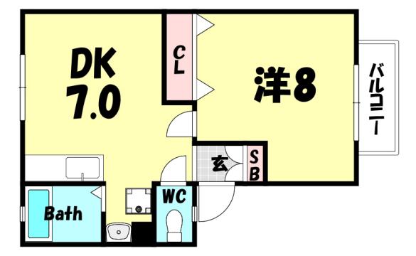 物件番号: 1025884074 六甲シティハイツ  神戸市灘区赤坂通2丁目 1DK ハイツ 間取り図