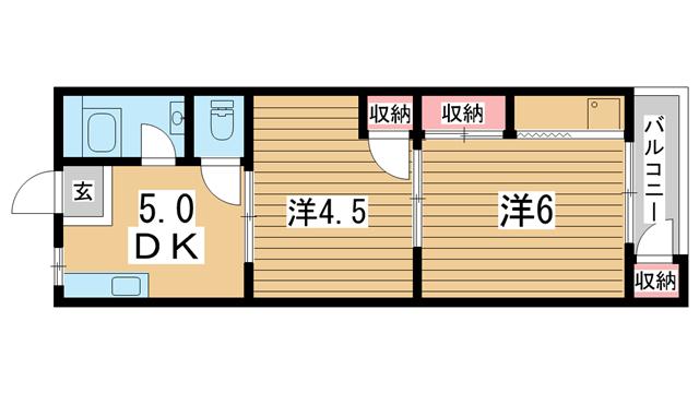 物件番号: 1025884083 平野マンション  神戸市兵庫区上三条町 2DK マンション 間取り図