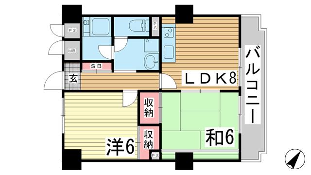 物件番号: 1025884088 ロイヤル花隈  神戸市中央区北長狭通6丁目 2DK マンション 間取り図