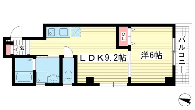 物件番号: 1025884089 リーフビル  神戸市中央区大日通6丁目 1LDK マンション 間取り図