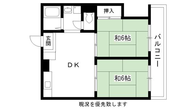 物件番号: 1025884093 シャルマン花隈  神戸市中央区花隈町 2DK マンション 間取り図