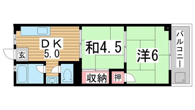 物件番号: 1025884109 酒井マンション  神戸市中央区上筒井通6丁目 2DK マンション 間取り図