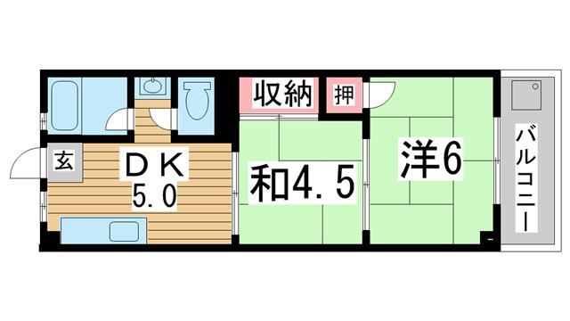 物件番号: 1025884110 酒井マンション  神戸市中央区上筒井通6丁目 2DK マンション 間取り図