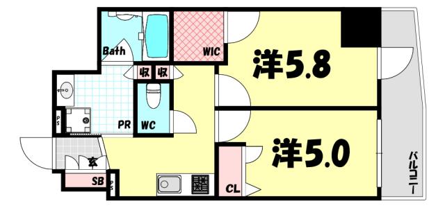 物件番号: 1025884142 ESTEMCOURT神戸元町ⅡRESERVE  神戸市中央区下山手通9丁目 2K マンション 間取り図