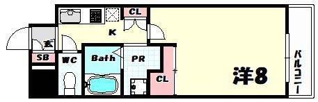 物件番号: 1025884152 マリンシティ三宮  神戸市中央区御幸通2丁目 1K マンション 間取り図