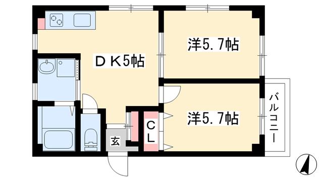物件番号: 1025884155 宝星ビル  神戸市中央区雲井通3丁目 2DK マンション 間取り図