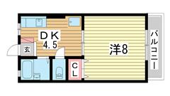 タウンハイム須磨南 202の間取