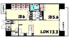 リーガル神戸三宮 1405の間取