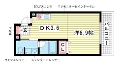 ライフデザイン三宮東 B502の間取