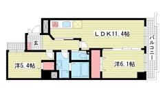 ミリオンベル神戸 704の間取