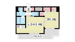 アスヴェル神戸駅前 1305の間取