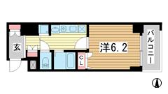 スワンズ神戸三宮イースト 603の間取