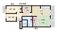 横尾(UR) 6-205の間取
