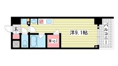 アスヴェル神戸駅前 701の間取