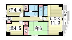 エテルノ神戸 201の間取