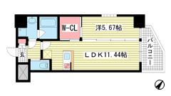 プレジオ神戸WEST 206の間取