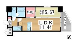 プレジオ神戸WEST 706の間取
