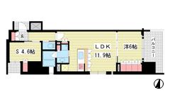 リーガル神戸三宮フラワーロード 1201の間取