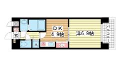 プレサンス神戸三宮 808の間取