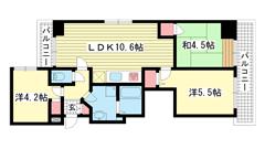 クレメント神戸大倉山 303の間取