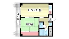レバンガ三宮アパートメント(旧:三宮ハイツ) 305の間取