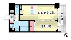 プレサンス THE 神戸 1409の間取