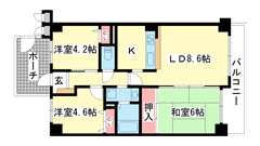 兵庫羽坂通パーク・ホームズ 506の間取