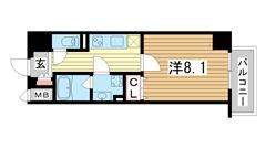 ネット無料★宅配BOX★防犯カメラ★自転車置場★浴室乾燥★ウォシュレット★ 601の間取