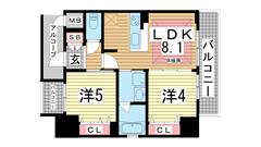 エステムプラザ神戸三宮ルクシア 1501の間取