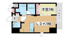 エステムコート神戸元町ヒルズ 701の間取