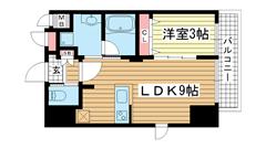 エステムコート神戸元町ヒルズ 1301の間取