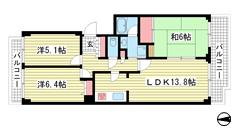 神戸パークシティC棟 6Fの間取