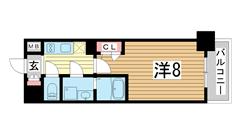 エスプレイス神戸ウエストゲート 712の間取