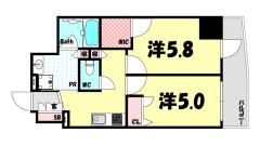 ESTEMCOURT神戸元町ⅡRESERVE 1103の間取