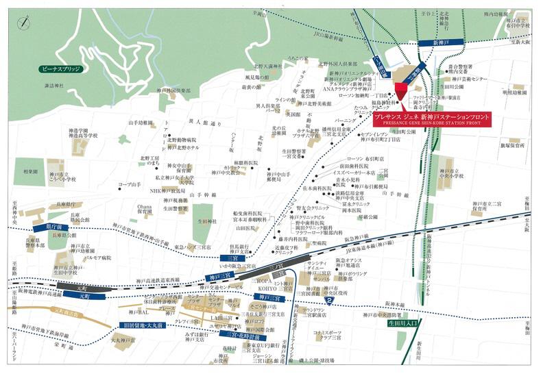 物件番号: 1025869536 プレサンスジェネ新神戸ステーションフロント  神戸市中央区布引町1丁目 1LDK マンション 画像2